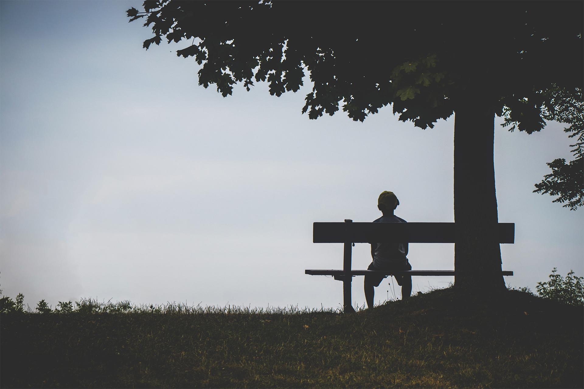 sitting on park bench